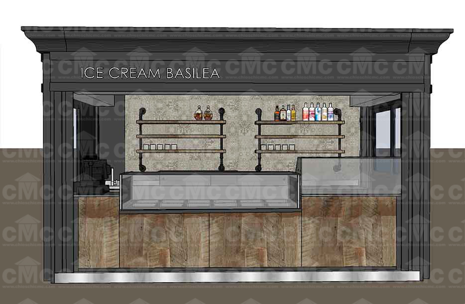 Rendering chiosco bar frontale