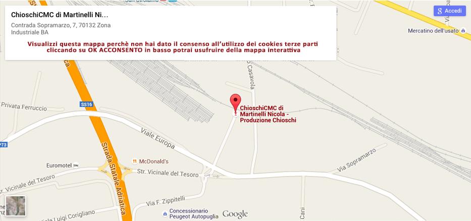 Mappa per raggiungere CHIOSCHI CMC